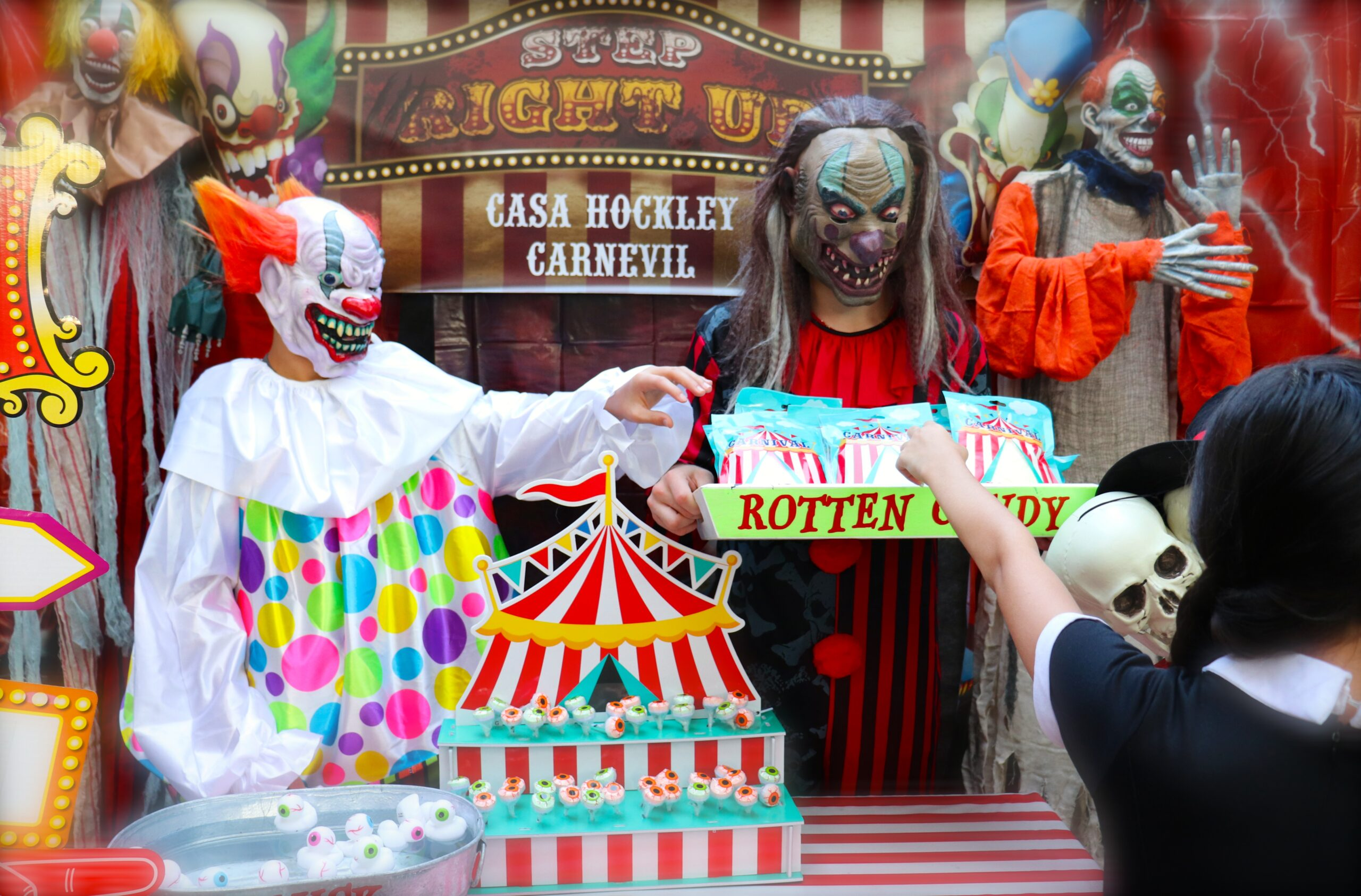 carnevil clowns give out candy