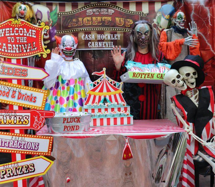 Carnevil halloween display at San Antonio home