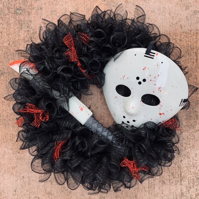 Jason Friday the 13th scary wreath