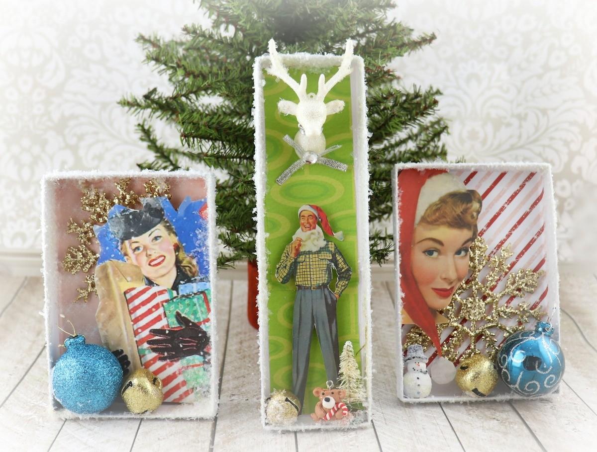 retro Christmas shadow box decor