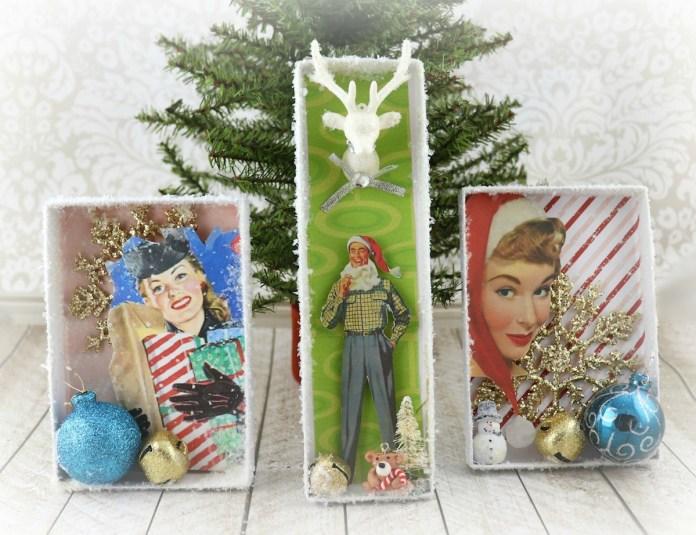 make shadow box ornaments for Christmas