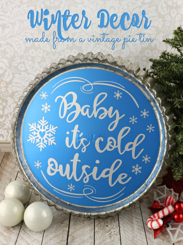 winter wall art made with vinyl pie tin decor