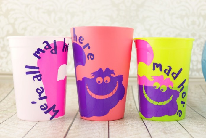 Alice in Wonderland cups made with vinyl