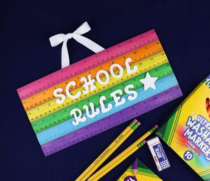 rainbow school sign tutorial