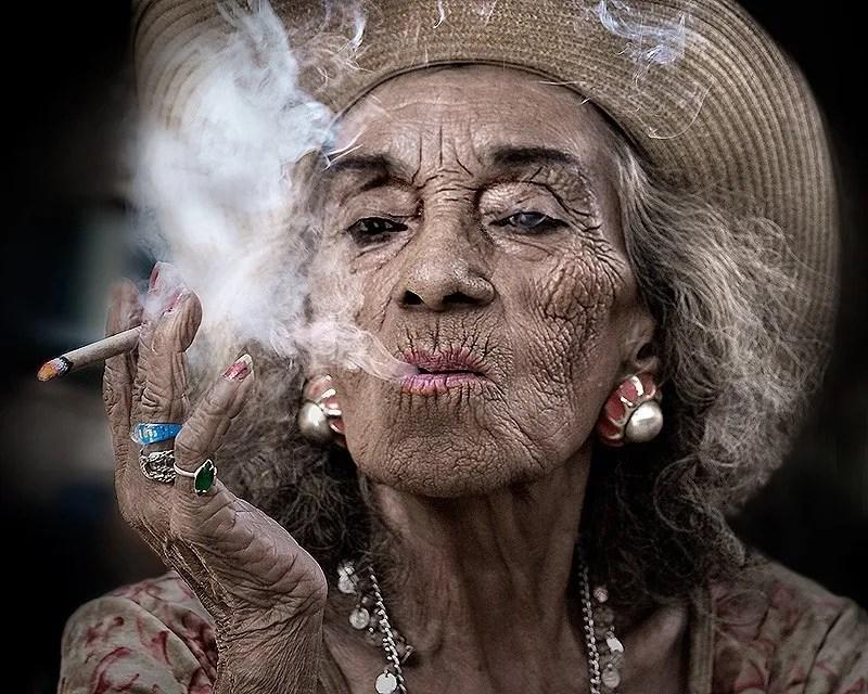 smoking granny