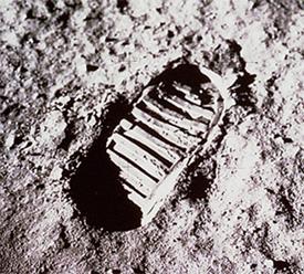 first moon footprint