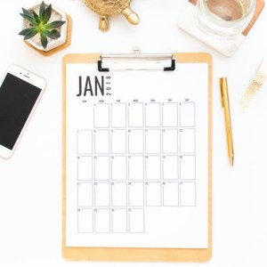 January calendar page on a clipboard