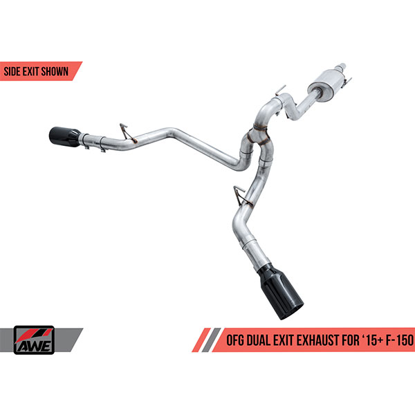 awe tuning 0fg dual exit exhaust for 2015 2020 ford f 150 2 7l and 3 5l ecoboost v6 5 0l v8