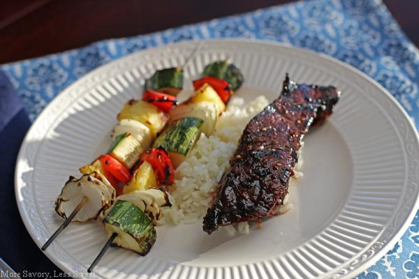 teriaki ribs and zucchini skewers 057
