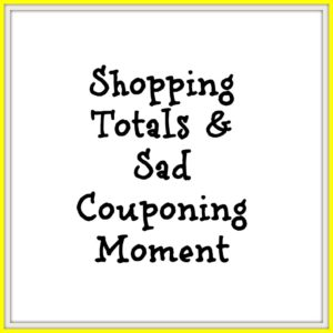 shopping totals and sad couponing moment