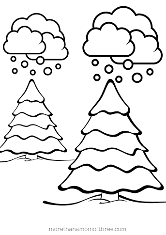 winter trees coloring page