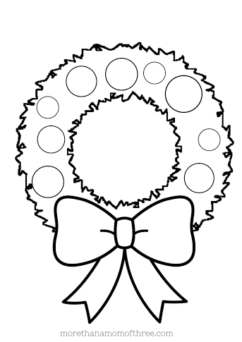 Free kids christmas coloring pages printables more than for Christmas wreath coloring pages