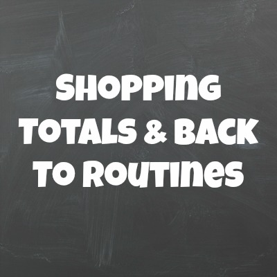 shoping totals and back to routines