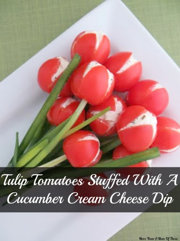 Tulip Tomatoes Stuffed With A Cucumber Cream Cheese Dip