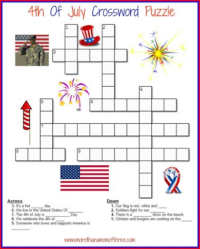 4th of july crossword activity printable