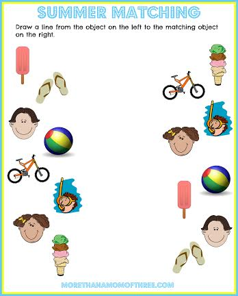 matching summer activity printables
