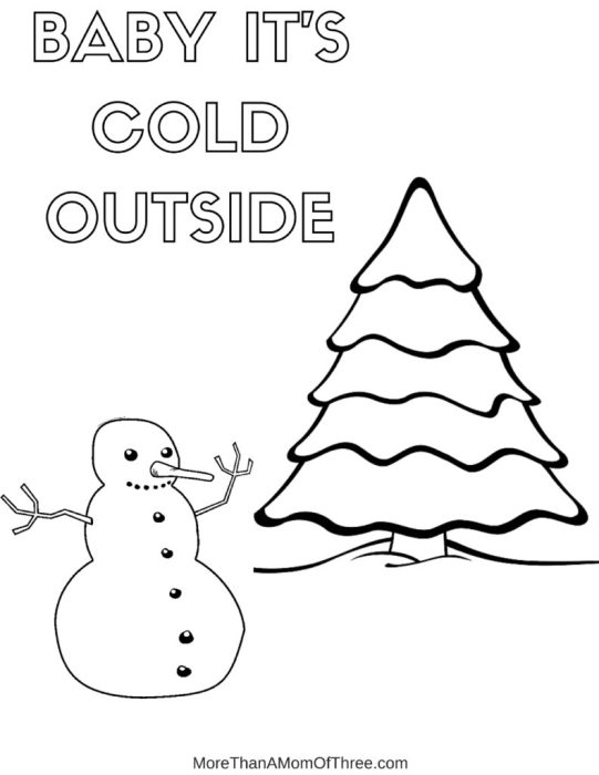 MERRY CHRISTMAS Tree Coloring Page Baby Its Cold Outside Snowman