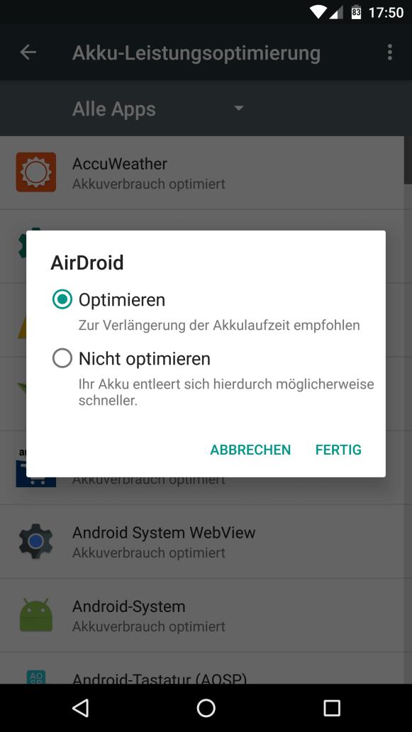 Doze & App Standby unter Android Marshmallow abschalten 6