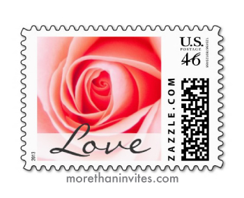 Beautiful Pink Rose Wedding Or Valentines Day Postage