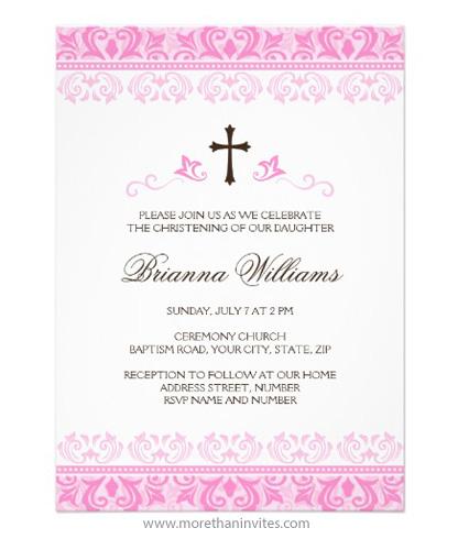 Pink Lace Damask Christening Baptism Invitation For Baby