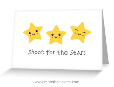 Shoot For The Stars Card With Cute Kawaii Style Stars