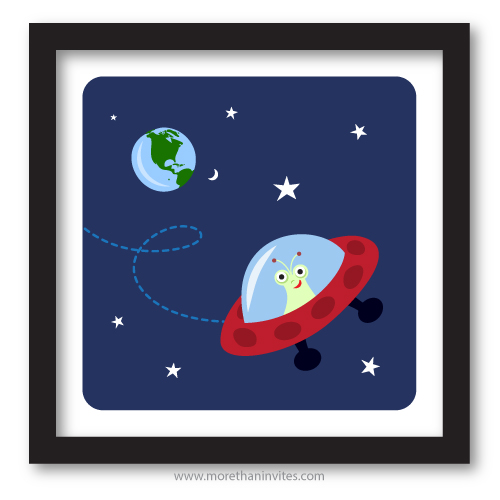Alien In Spaceship With Planet Earth And Stars In The