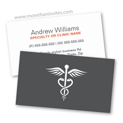 Modern Dark Gray Medical Doctor Business Card With