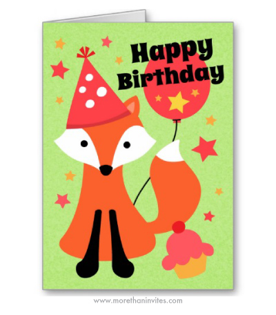 Happy Birthday Card With Cute Fox Wearing A Party Hat