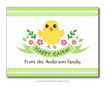 Happy Easter Postcard With Cute Chicken Leaves Flowers