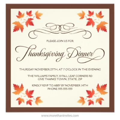Brown And Cream Colored Thanksgiving Dinner Invitation
