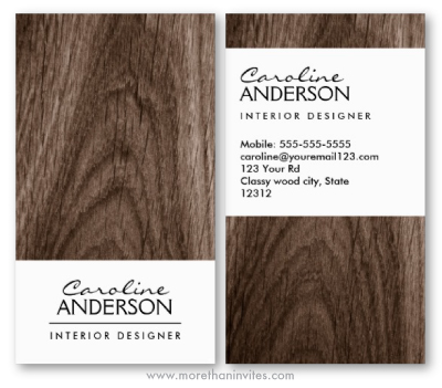 Classy Dark Oak Wood Business Card Template For Women