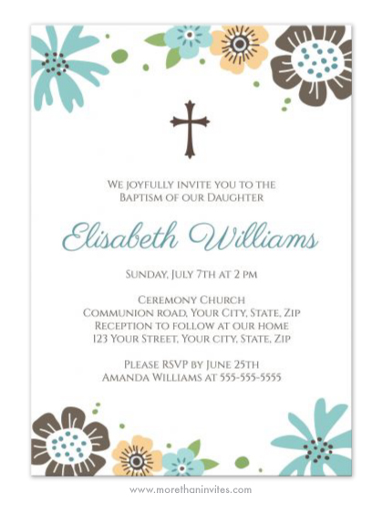 Cute Baptism Christening Invitation With Pretty Blue