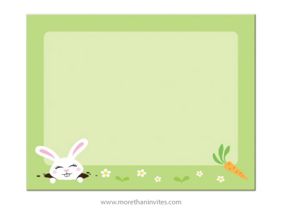 Cute Note Card With White Bunny Daisies And Carrot More