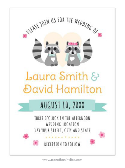Bride And Groom Raccoon Cute Animal Couple Wedding