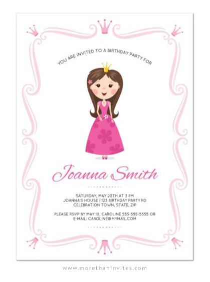 Pink Princess Birthday Party Invitation With Ornate Border