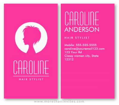Hot Pink Fashion Hair Stylist Or Beautician Business Card
