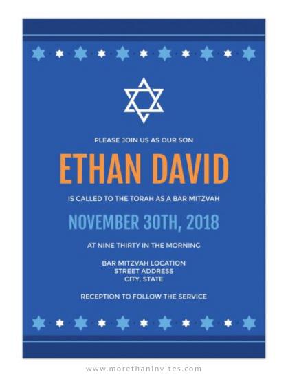 Blue Bar Mitzvah Invitation With Star Of David Border 01