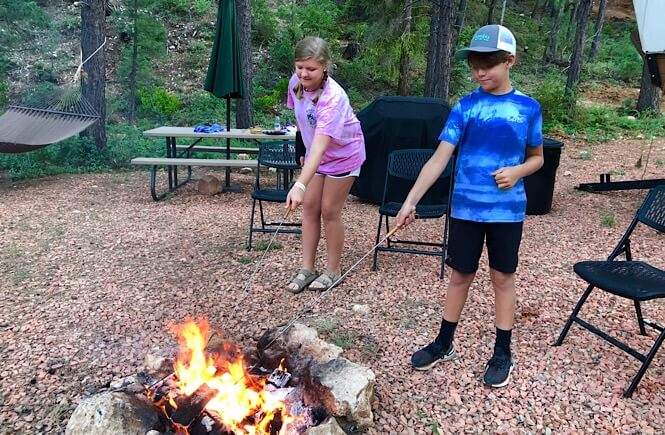 Making s'mores at Whispering Pines!
