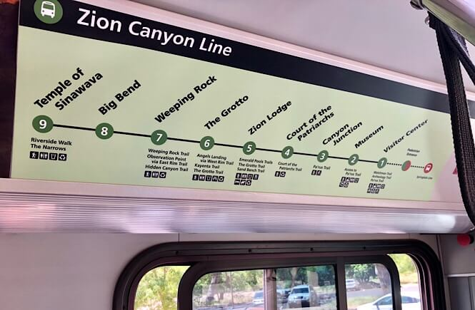 Zion Narrows Day Hike: What You REALLY Need to Know Before You Go as featured by top US travel blog, More than Main Street; Map of the free shuttle at Zion National Park!