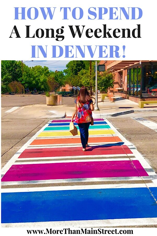 The Ultimate Denver Itinerary featured by top US family travel blog, More Than Main Street: rainbow sidewalk in Denver Colorado
