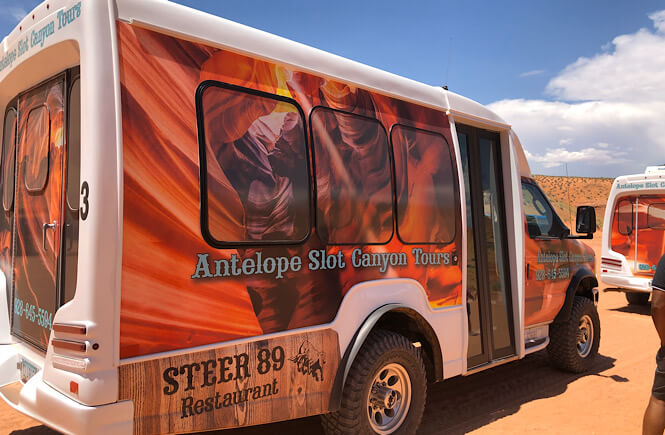 The Best 2 Things To Do in Page Arizona as featured by top US family travel blog, More than Main Street; Antelope Slot Canyon Tour Company shuttle.