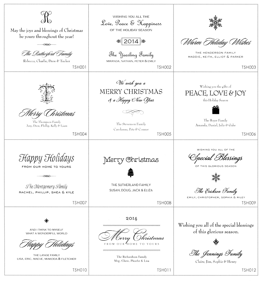 Stacy Claire Boyd Holiday Card Sentiments