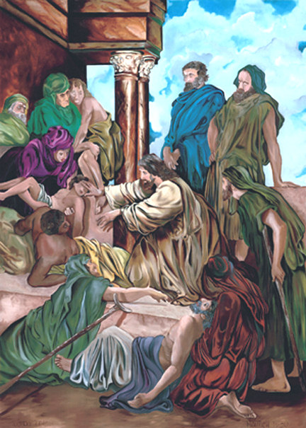 painting of Jesus Christ healing the sick