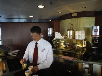 Barista's coffee bar on the Oceania Marina