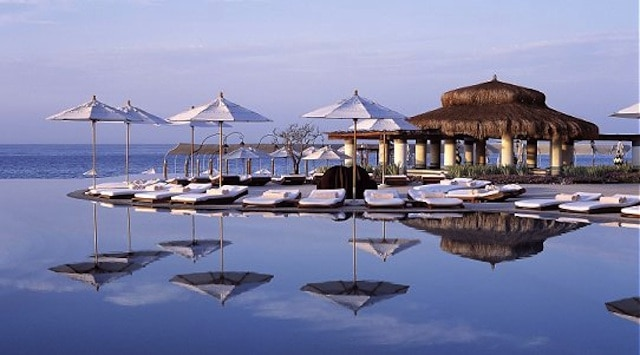 The infinity pool at LasVentanas is a perfect place to read and unwind.