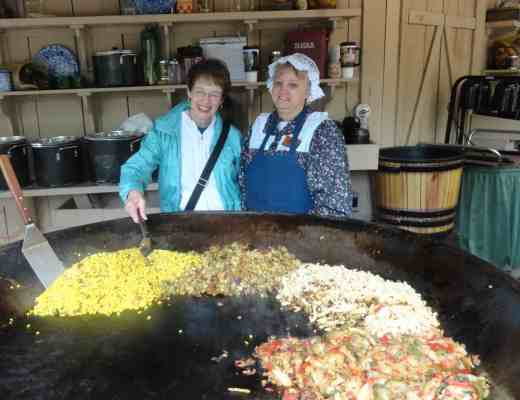 Mickey Goodman helps make succotash at Silver Dollar City, Branson, Missouri.