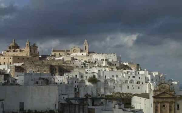 A view of Ostuni, Italy, often called the White City because most of its buildings are painted white.