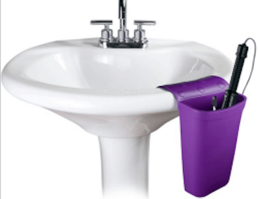 Hot iron holster shown on a pedestal sink