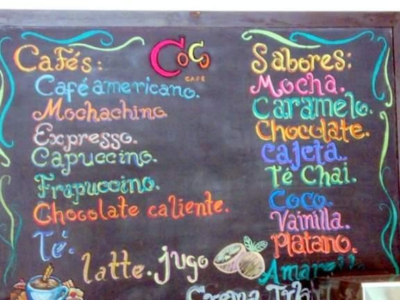 The menu at Coco Cafe at Secrets Huatulco