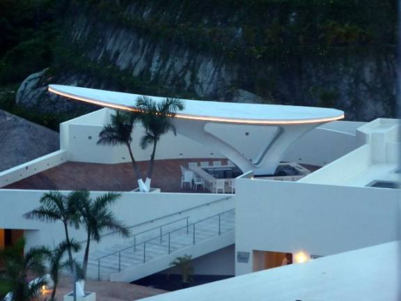 Skybar at Secrets Huatulco at dusk